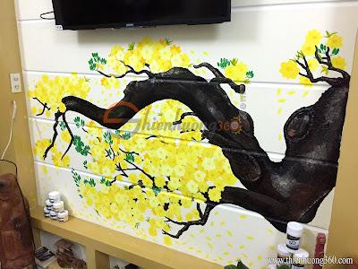 Tranh tường 3D: Hoa mai vàng khoe sắc đón Xuân