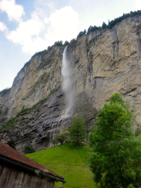 Waterfall coming down the mountain, near Lauterbrunnen, Switzerland