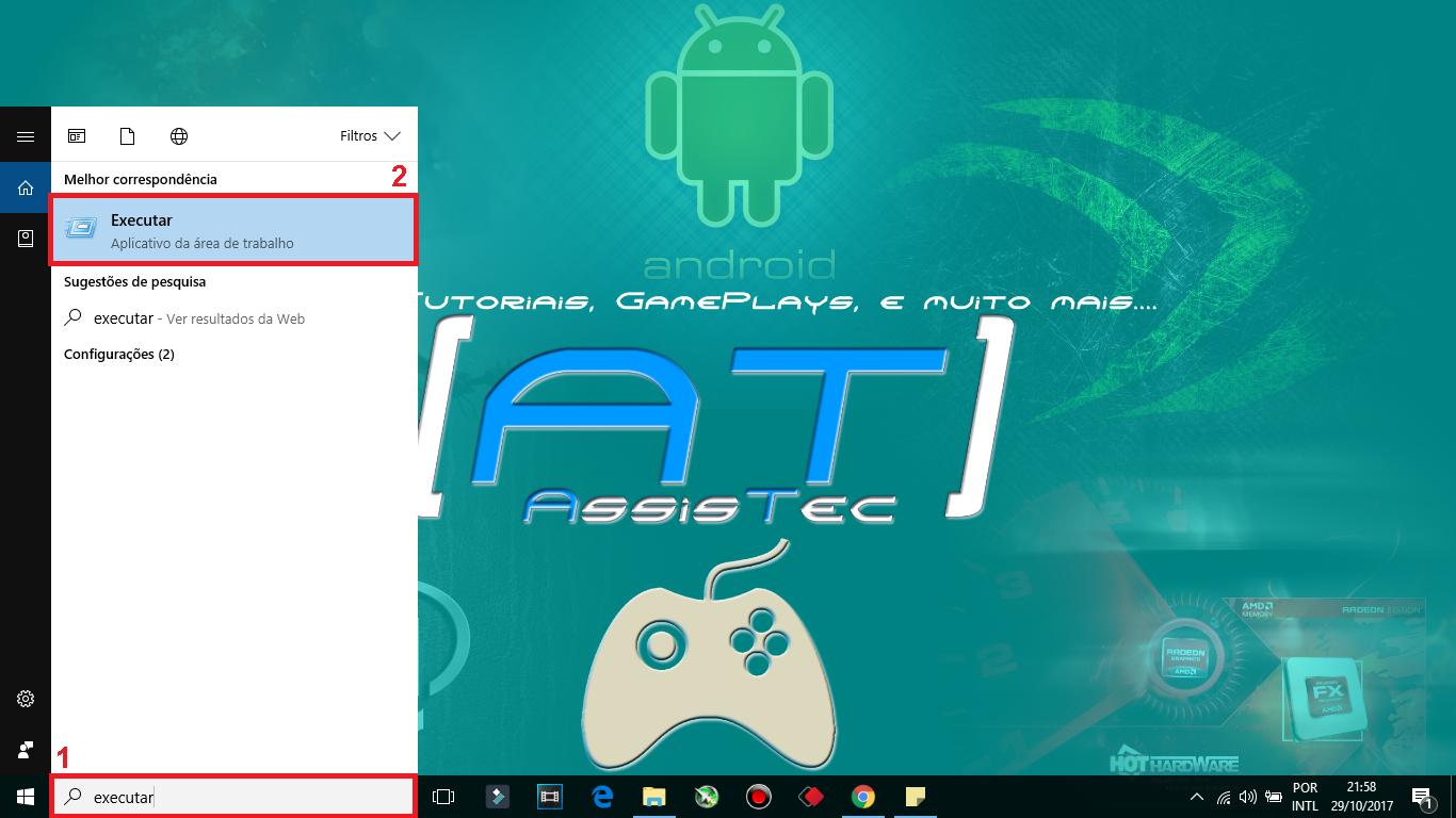 """1 - Clique em iniciar do Windows. 2 - Pesquise por Executar, e clique sobre o ícone que aparecer. Poderá fazer esse processo diretamente por meio do atalho do teclado, aperte tecla """"WIN + R""""."""