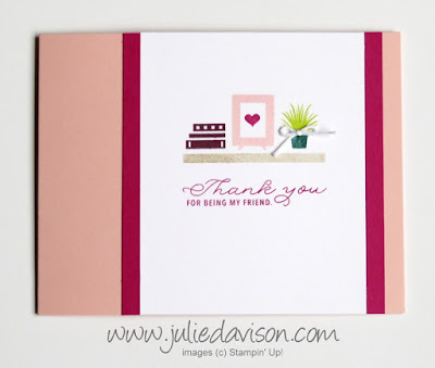 Stampin' Up! Bookcase Builder Thank You Friend Card #GDP116, Curtain Call Challenge ~ www.juliedavison.com