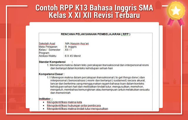Contoh Rpp K13 Bahasa Inggris Sma Kelas X Xi Xii Revisi Terbaru