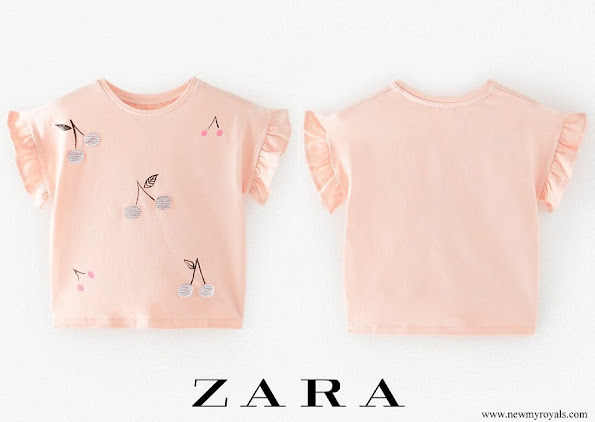 Princess Adrienne wore Zara round neck t-shirt with short ruffled sleeves and front cherry print with sequin appliqués