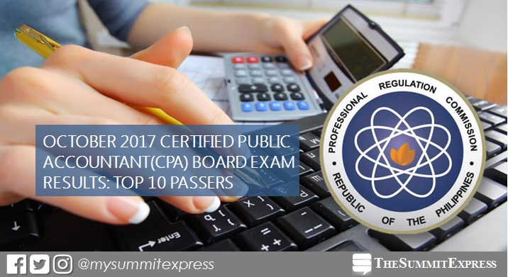 TOP 10 PASSERS: October 2017 CPA board exam results