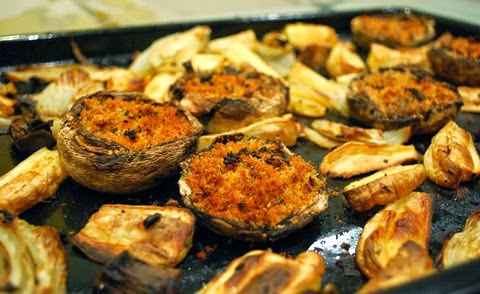 Baked Stuffed Mushrooms with Parsnips