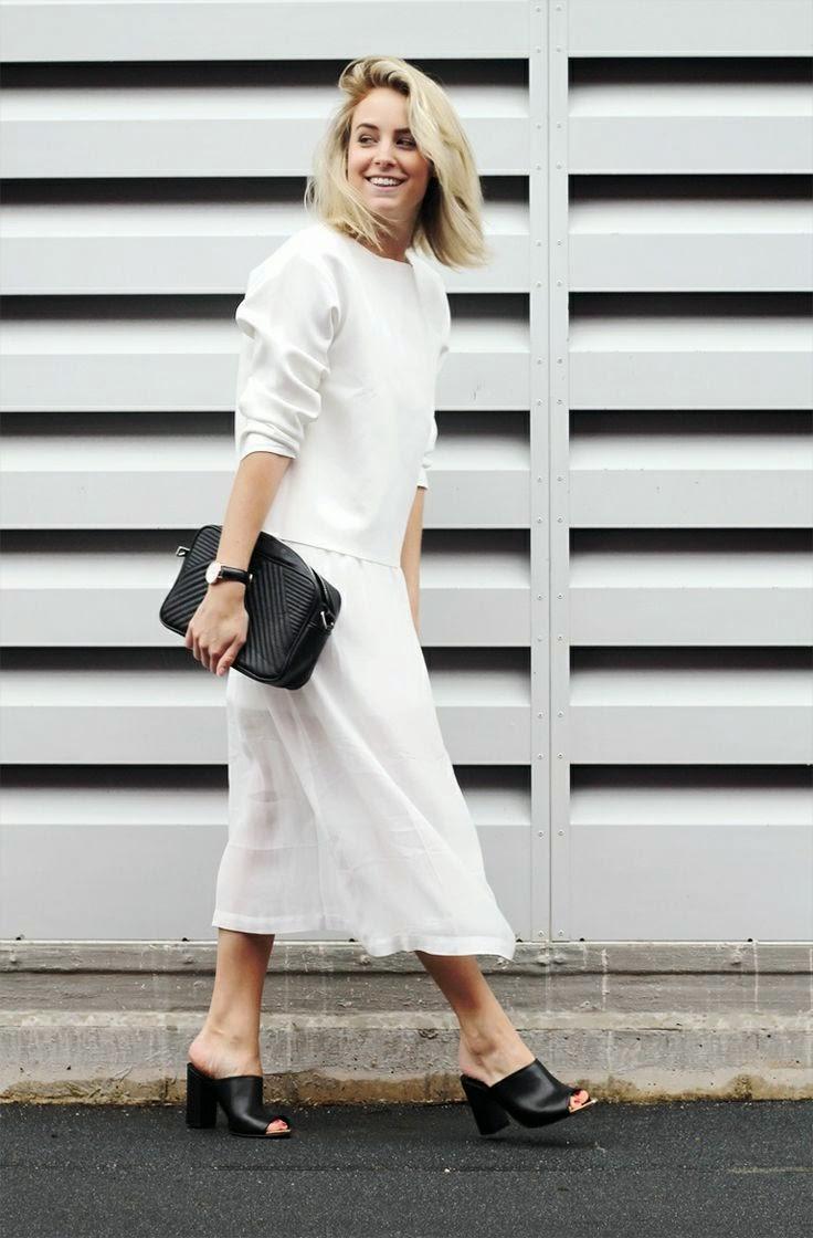 saia branca comprida e camisola oversized branca