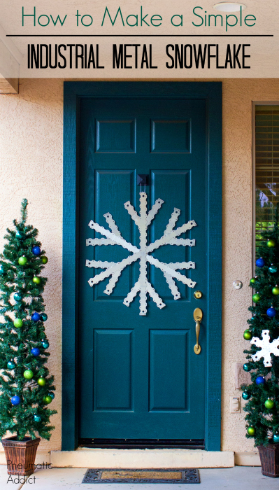 How to make a simple, industrial metal snowflake. Easy DIY holiday door hanger.