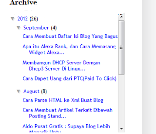 Cara membuat scroll di widget archive blog