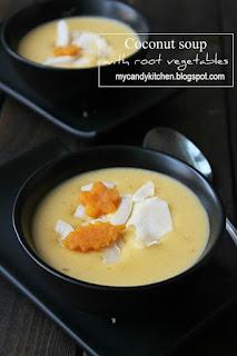 Кокосова крем супа с кореноплодни