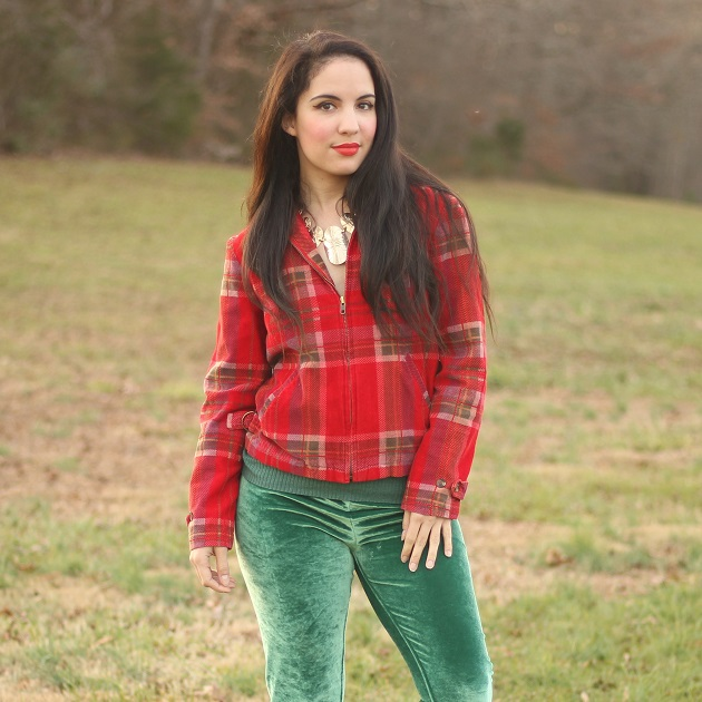 Red Plaid Corduroy Jacket