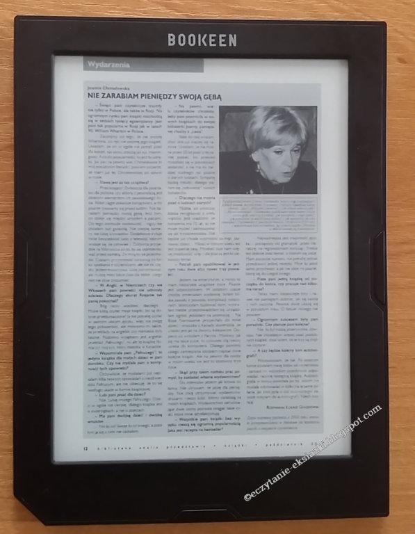 Przykładowy plik PDF w trybie zwykłym na czytniku Cybook Muse Light