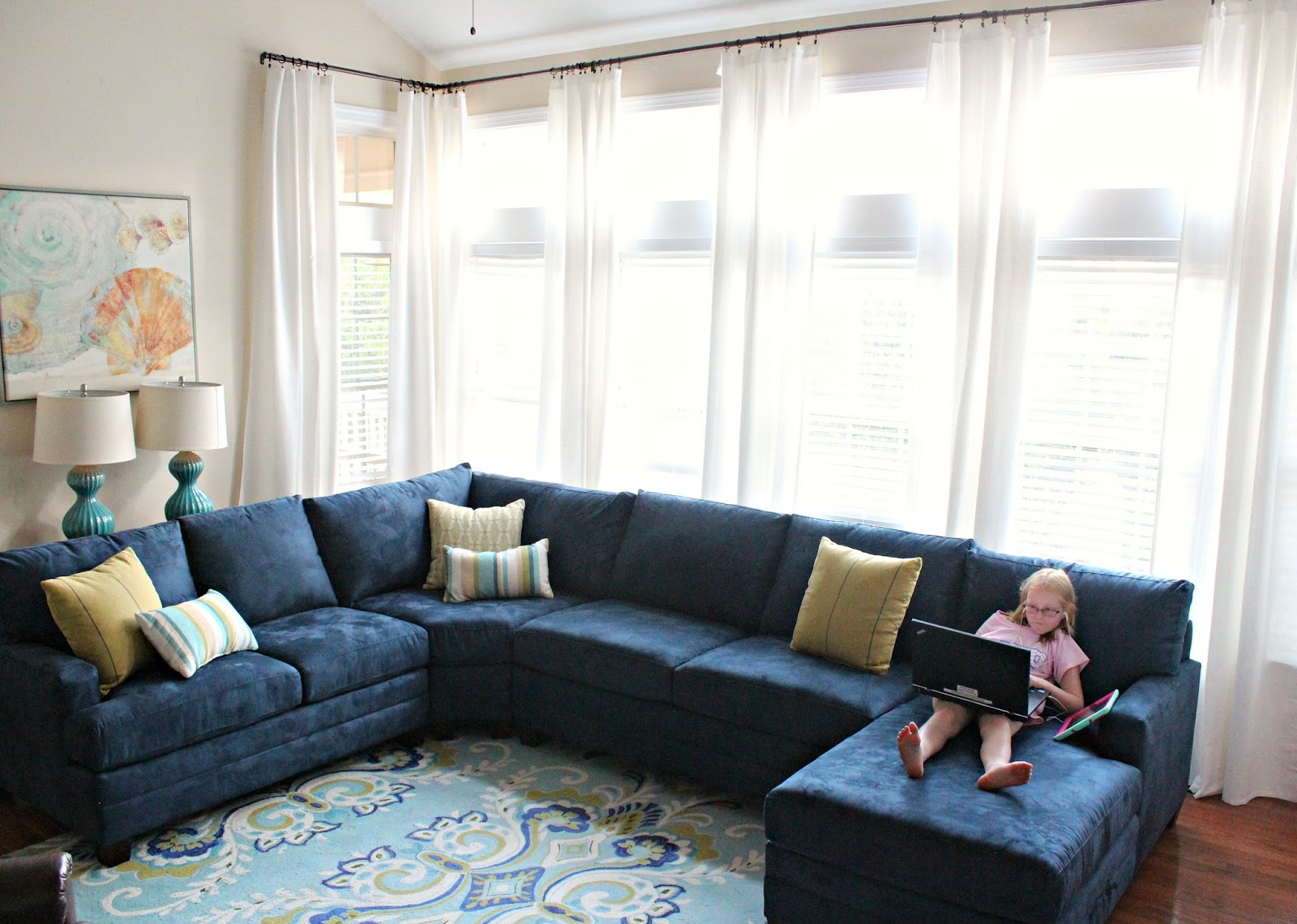 Our new sofa is the CU2 L-shaped sectional from Bassett. In May Tal and I visited 9 furniture stores and sat on over 30 sofas. A lot of the sectionals we ... : navy sectional - Sectionals, Sofas & Couches