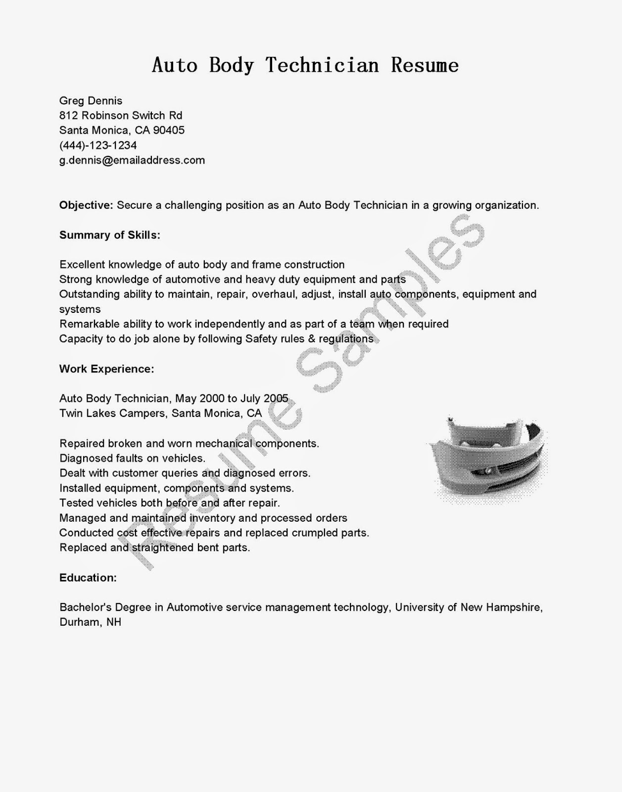 resume samples  auto body technician resume sample
