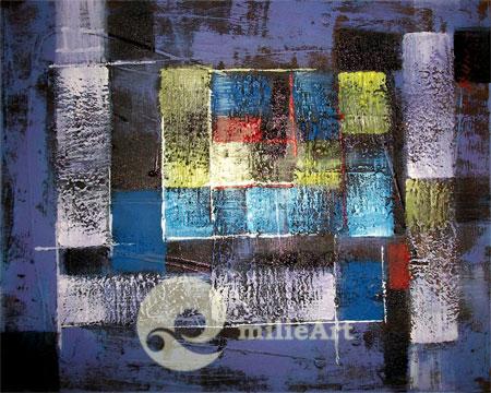 lukisan abstrak ungu
