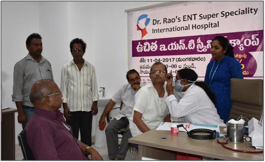 "Dr. Rao's organized ""Free ENT Screening Checkup"" campaign at Kukatpally & Punjagutta in Hyderabad"