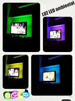 4 fotografías de diferente colres de luz ambiente tras una televisión: verde, violeta, amarillo y azul