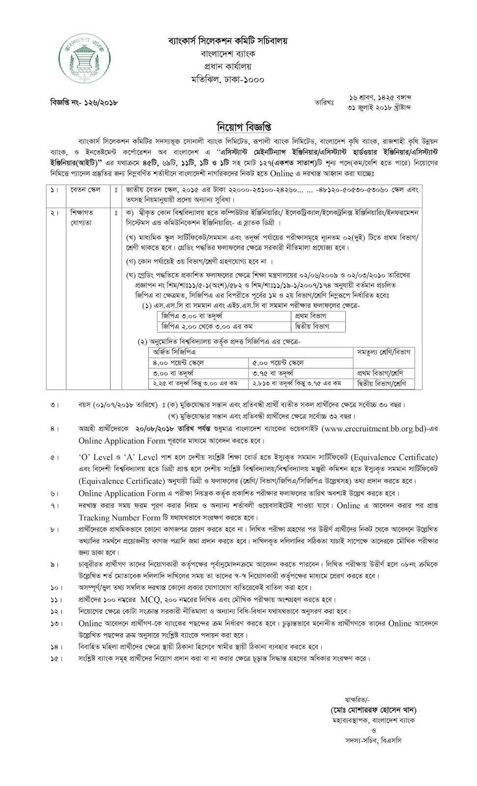 Bankers´Selection Committee Secretariat (BSCS) Assistant Programmer Recruitment Circular 2018