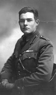 Hemingway in the uniform he  wore while serving in Italy