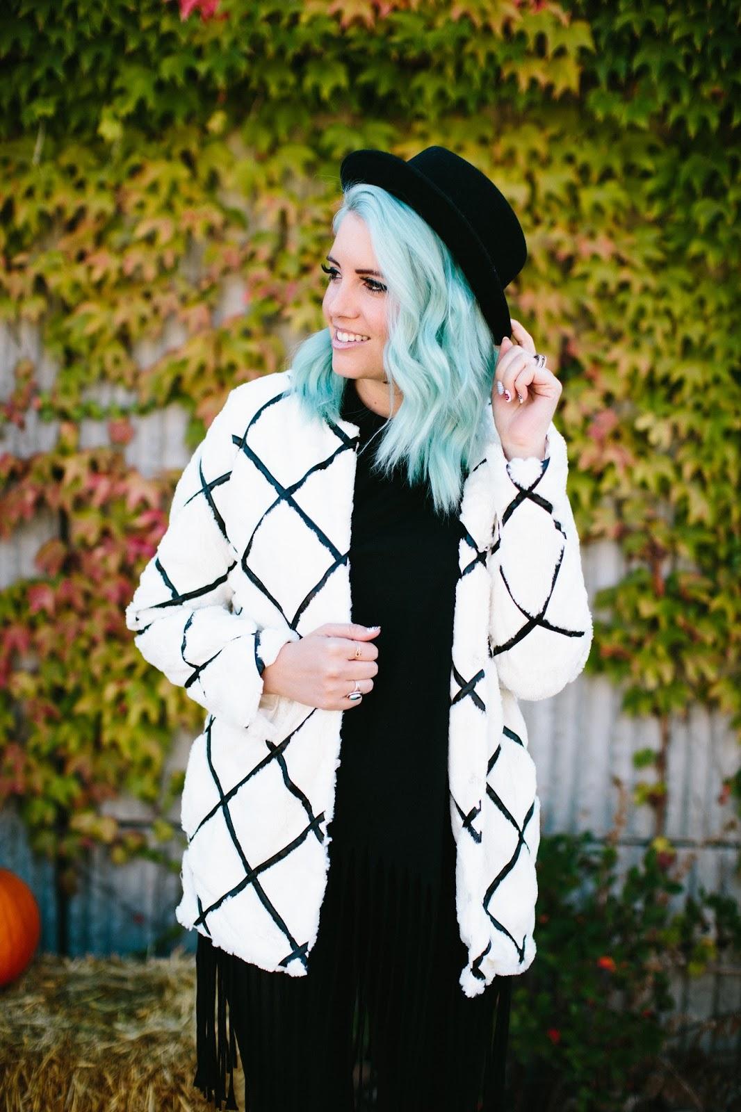 Fur Coat, Fall Fur, Blue Hair