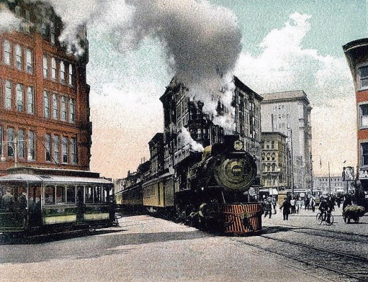 Pictures of Trains on the Streets of Syracuse New York