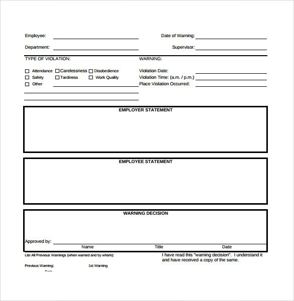 employee write up form for attendance