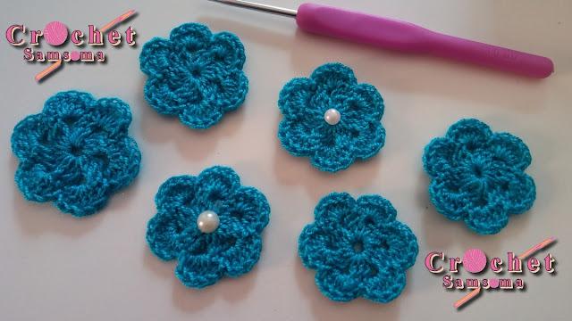 كروشيه وردة . كروشيه وردة بسيطة لتزيين شغل الكروشيه . كروشيه وردة بسيطة . Crochet flower tutorial .  How to Crochet a simple flower