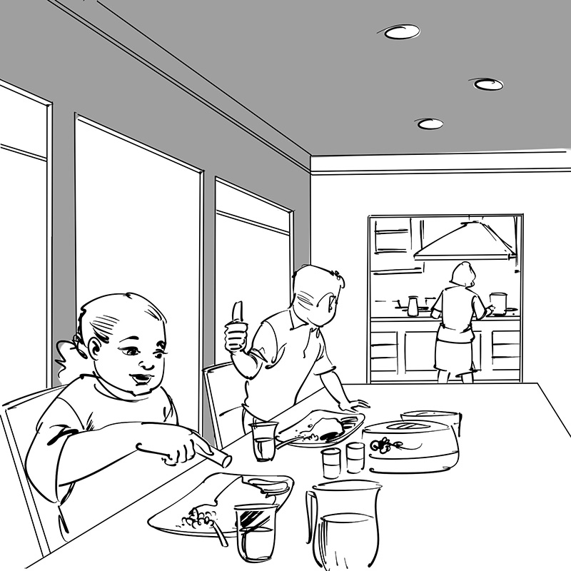 kid's children's picture book black and white line drawing illustration boy and girl eating