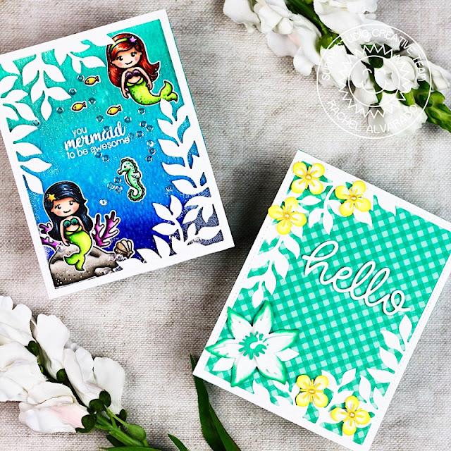 Sunny Studio Stamps: Botanical Backdrop Dies Magical Mermaids Hello Word Die Cards by Rachel Alvarado