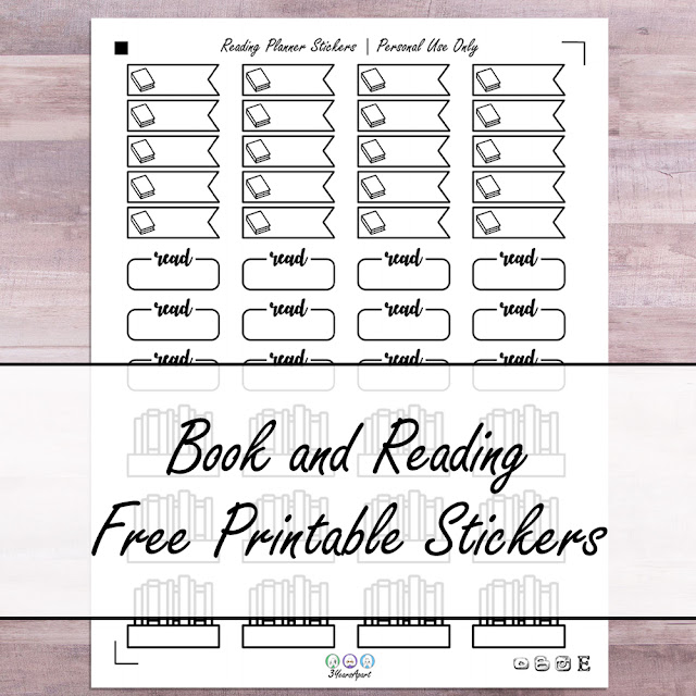 Sheet of stickers on wooden background | 3 Years Apart | Book and Reading Free Printable Stickers
