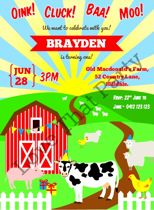 farm animal birthday invitation, farm party, 1st birthday, barnyard, farmyard, farm, cow, pig, chicken, barn, sheep, personalised, invitation, printable