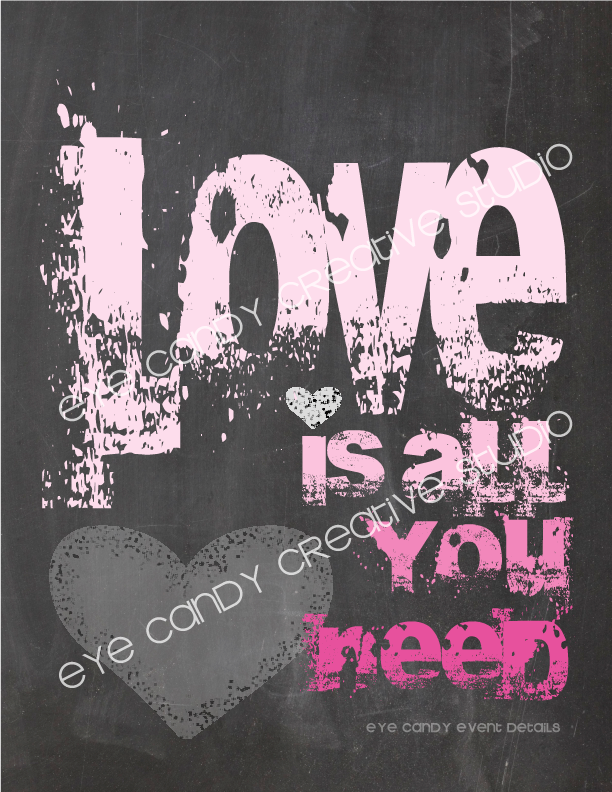 chalkboard print, valentines day print, free download, love is all you need