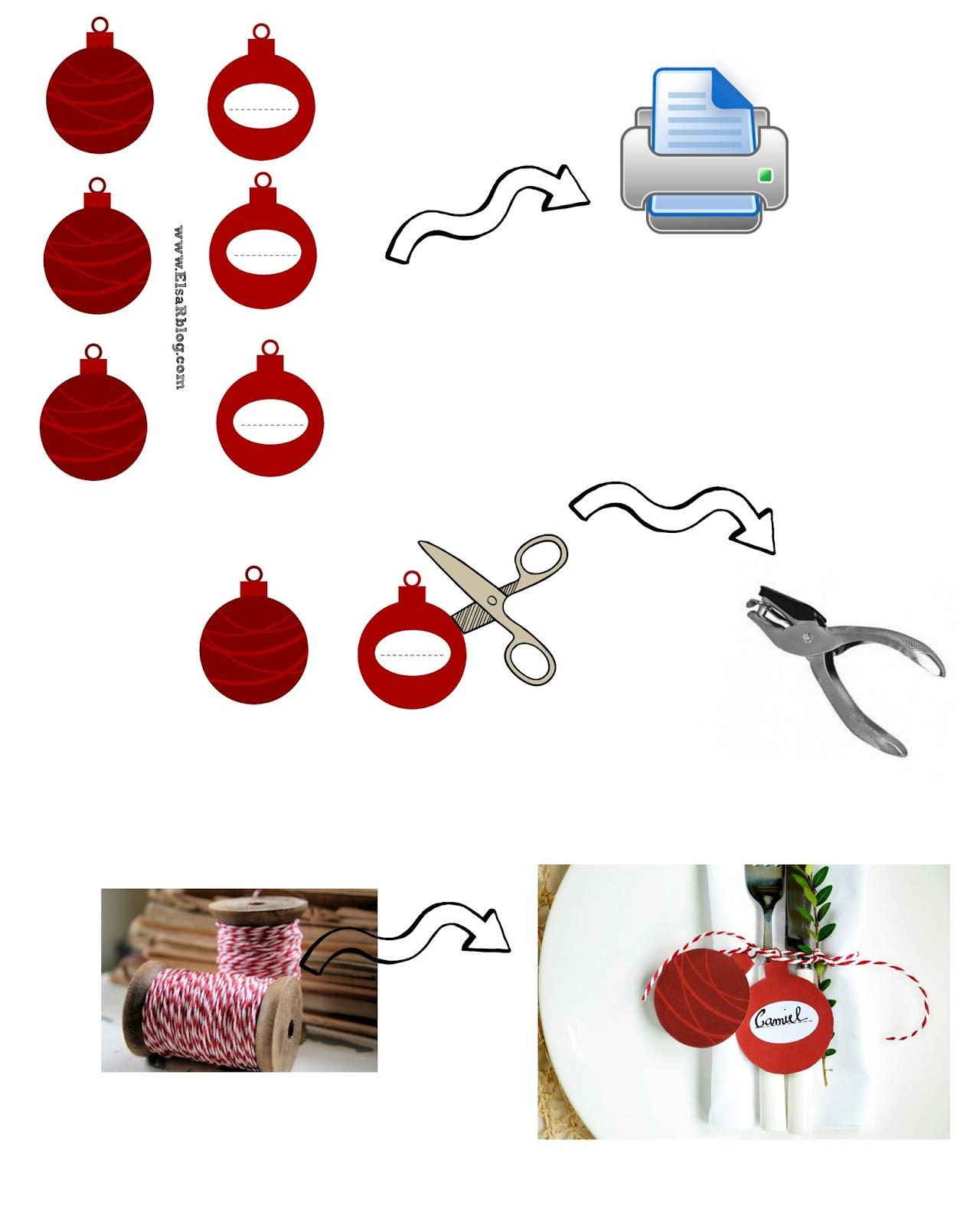 Kerstballen naamkaartjes - Tafel dekken Kerstmis
