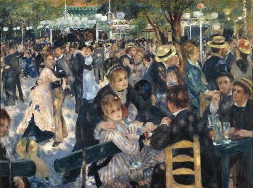 O baile no moulin de la Galette, pintura do impressionista francês, Pierre-Auguste Renoir. #PraCegoVer