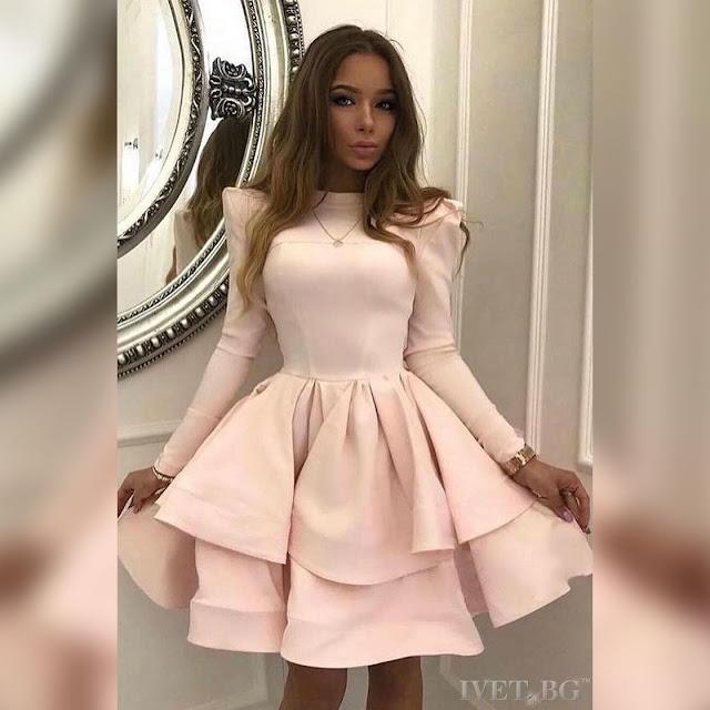 Μακρυμάνικο ανοιχτό ροζ φόρεμα CHICONA
