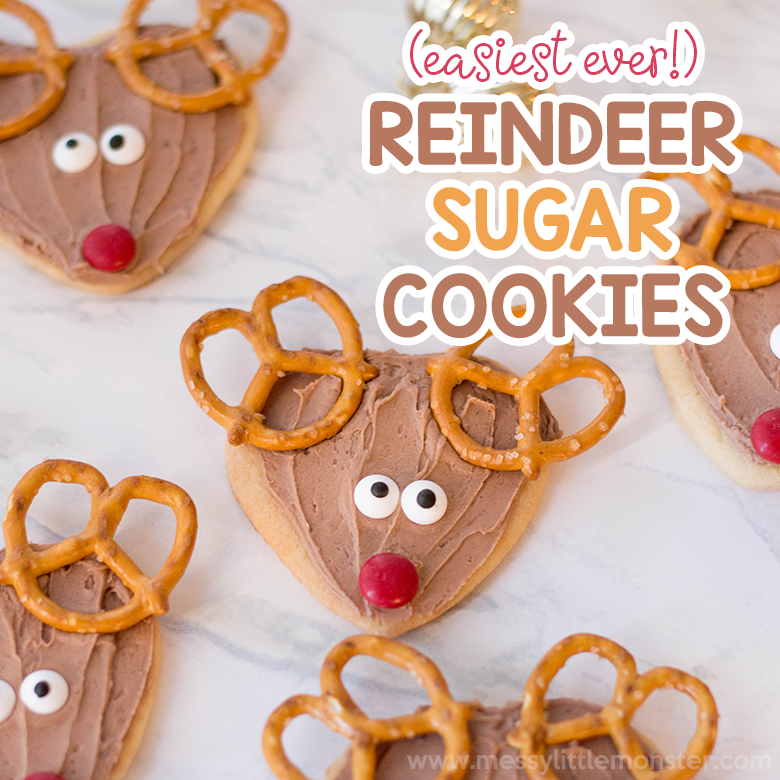 Reindeer Cookies An Easy Sugar Cookie Recipe Messy Little Monster