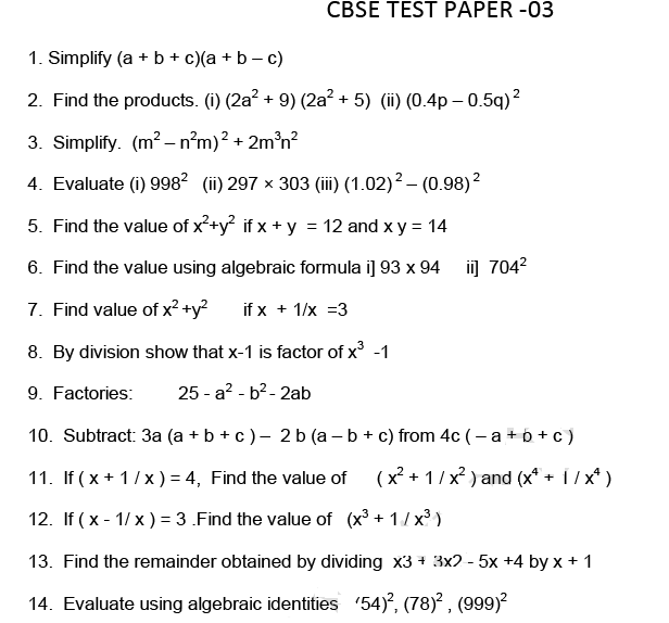 Test paper Algebra ,ssc,scc,maths,cbse important questions,