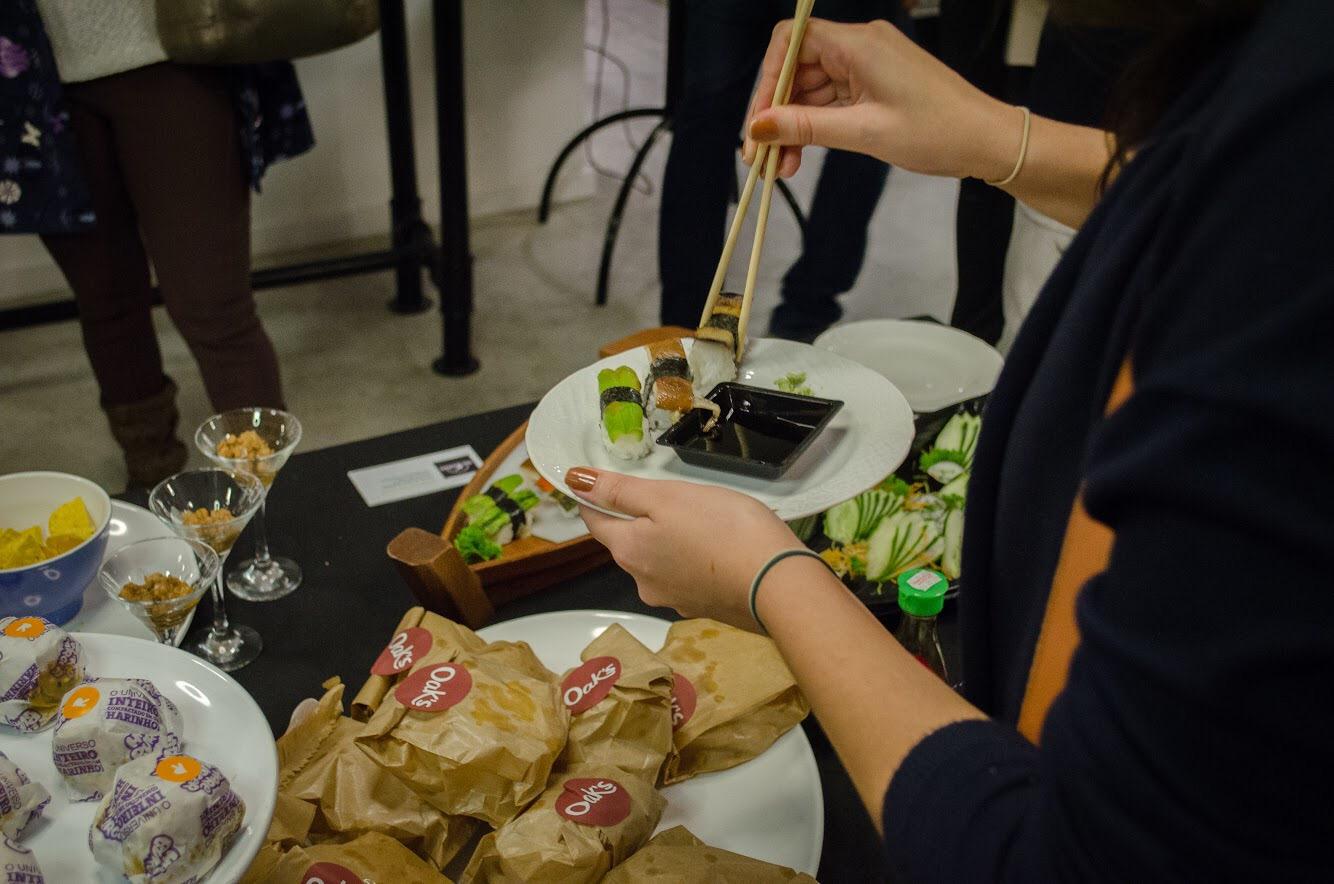 Comida japonesa vegana dentre outras