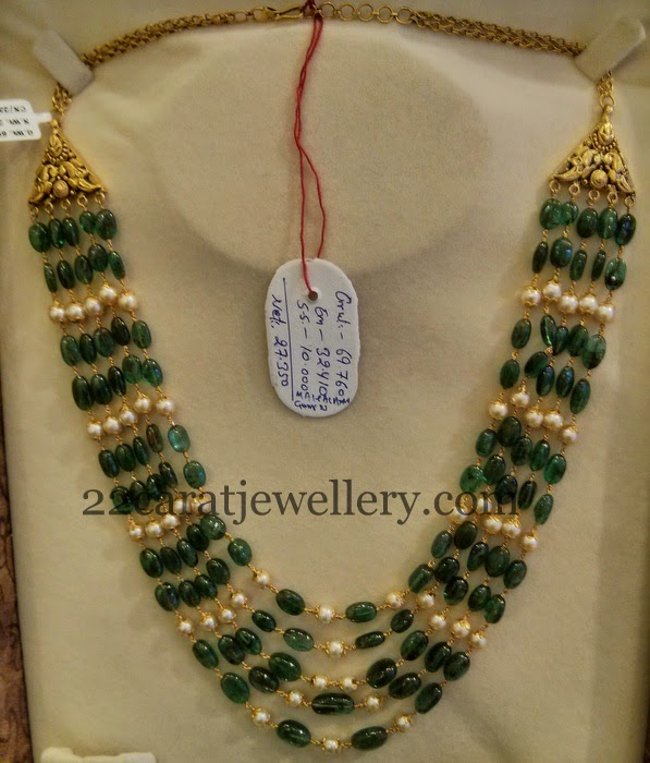 Emeralds Pearls Haram 70gms Jewellery Designs
