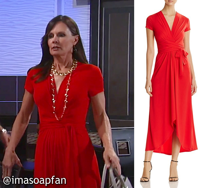 Lucy Coe, Lynn Herring, Red Wrap Style Jersey Dress, Michael Kors, GH, General Hospital