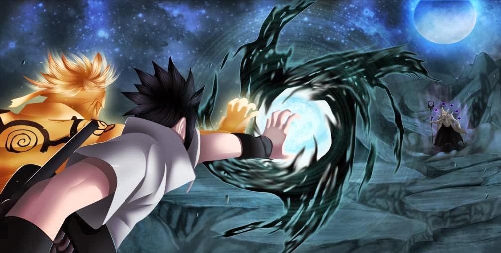 Photo anime: Naruto Fuuton-Rasenshuriken and Sasuke Amaterasu