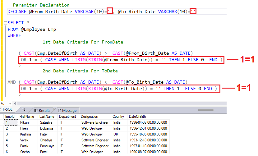 SQL Server Date Range Condition in WHERE Clause Without Date Criteria