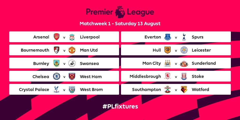 Calendario Partite Premier League.Ukcalcio Premier League 2016 2017 Ecco Gli Appuntamenti