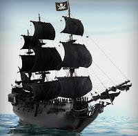 Siyah renkli bir korsan gemisi maketi