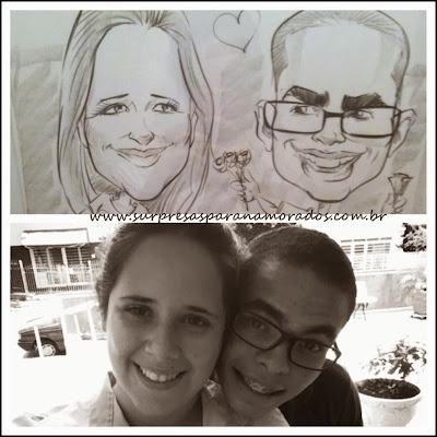 caricatura do casal namorados