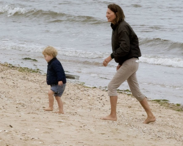 Prince George With Carole Middleton On The Beach