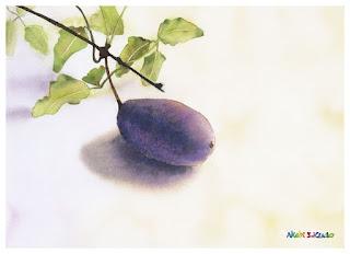 ひとつのあけびと蔓、葉っぱの水彩画。余白を大きく取りました。