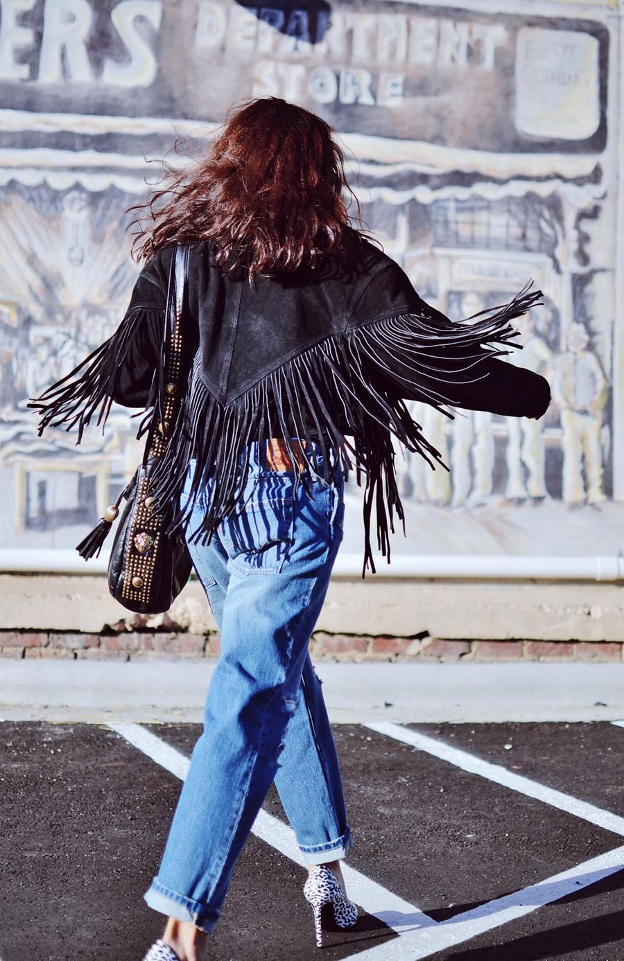 Fringe jacket street style