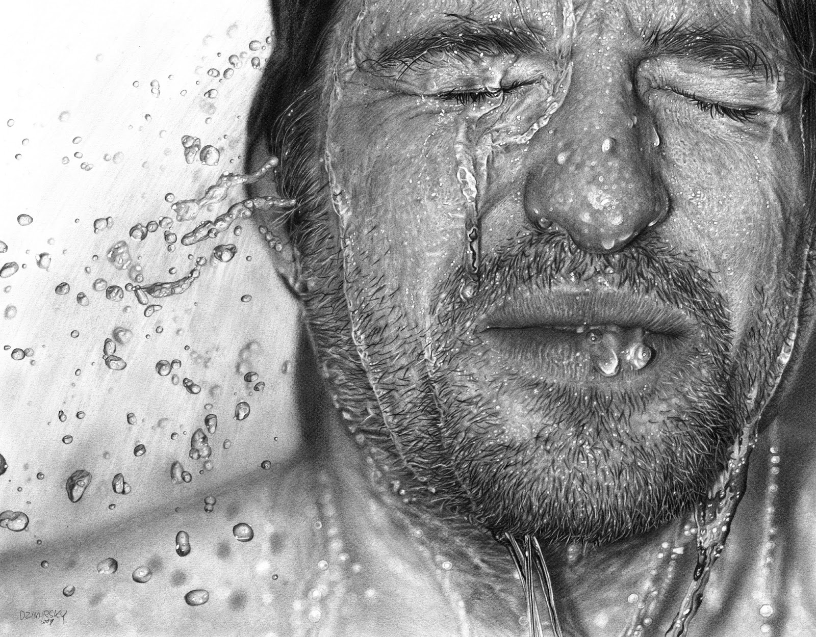 Drawn face vi 2009 pencil on paper 42 x 54 inches private collection mountain view ca usa by dirk dzimirsky courtesy artist