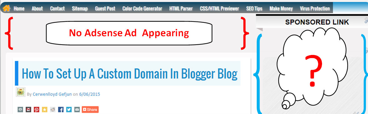 How to fix Adsense not showing after Redirecting Blogger to custom