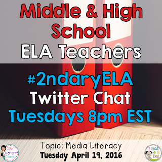 On Tuesday, April 19, our #2ndaryELA chat will focus on media literacy.