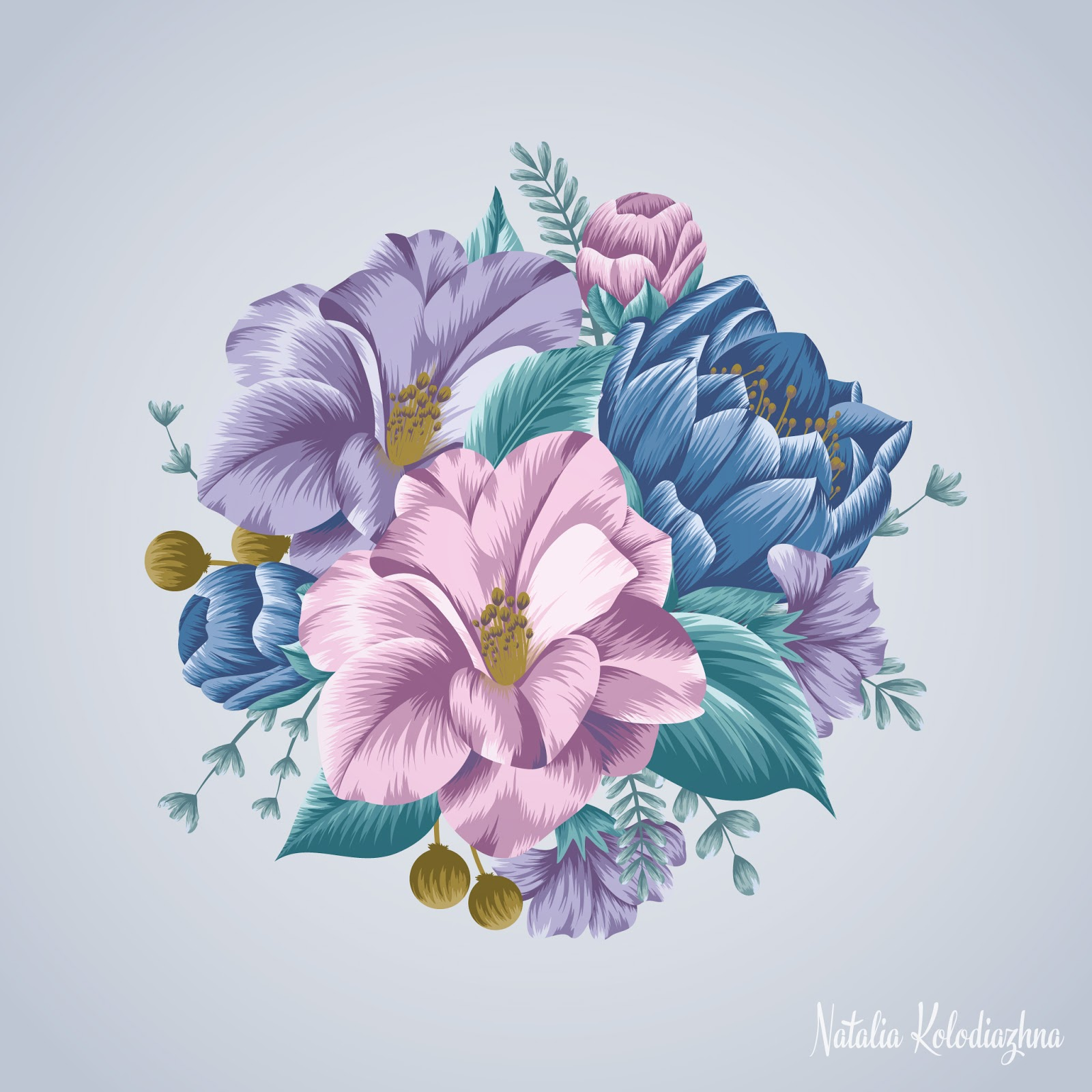 Floral camellia motif by Natalia Kolodiazhna